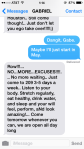 Text from my trainer, Gabe Subry.